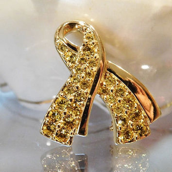 Swarovski Support Our Troops Yellow Pave Crystal Ribbon Pin Brooch Swan Signature Designer Signed Swarovski Jewelry Patriotic