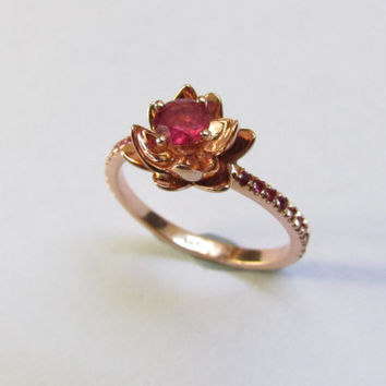 Engagement Ruby Ring 14k,14k Gem Stone Ring ,Wedding Ring Rose Gold,Rose Gold Ring,Art Deco ring With Rose Gold,Engagement Rose Gold Ring
