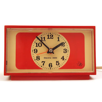 Retro Dark Orange / Red Alarm Clock. Electric 2000 brand. KSD 123, Made in Germany.