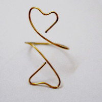 Gold Heart Wire Ring