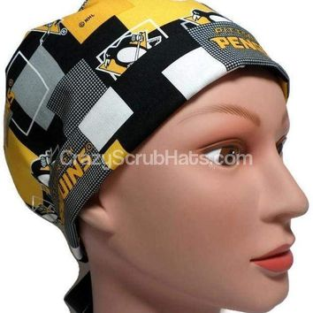 Women's Pixie Surgical Scrub Hat Cap in Pittsburgh Penguins New Block