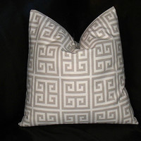 """Taupe Greek Key Pillows 18x18 inch Throw Pillow COVERS 18"""" Tan, Natural MODERN Geometric Decorator Pillows set of TWO"""