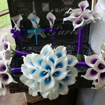 17 piece Real Touch White Purple Center & White Blue Center Calla Lily Wedding Bouquet Set, Purple Bouquet, Calla Lily Bouquet Malibu Bl