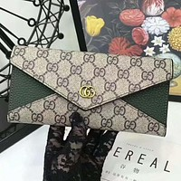 GUCCI Popular Women Shopping Bag Leather Buckle Zipper Wallet Purse(5-Color) Green I-AGG-CZDL