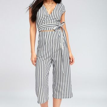 Jetset to Go Blue and White Striped Wrap Culotte Jumpsuit
