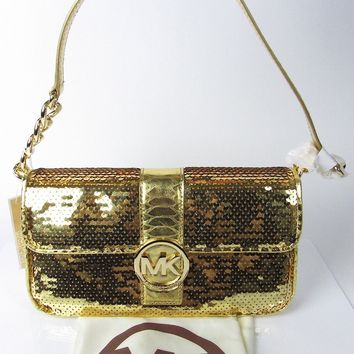 New MICHAEL KORS Gold Sequin Fulton Evening Chain Purse Flap Shoulder Bag NWT