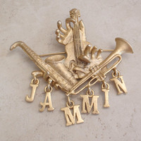 Jammin Brooch Pin Jazz Concert Festival Instruments Gold Tone Large Music Jewelry Vintage