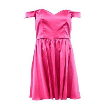 Socialite Women's Bright Pink Silky Satin Sheath Cocktail Dress, Size Medium