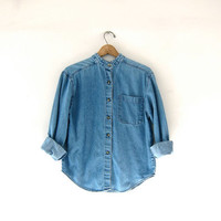 vintage jean shirt. denim pocket shirt. collarless jean shirt. small fit shirt.