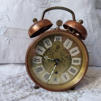 Antique alarm clock retro French Japy bell alarm clock vintage mechanical movement, desk clock, nightstand clock, working order clock