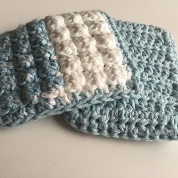 Crocheted Pot Scrubber Set of 2 - Blue White - Dish Scrubber - Nubby - Dish Cloth - Kitchen Scrubbie