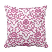 Mulberry Damask Floral Traditional Pillow