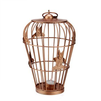 "12"" Decorative Copper Finish Birdcage Tea Light Candle Holder Lantern with Hummingbird Accents"