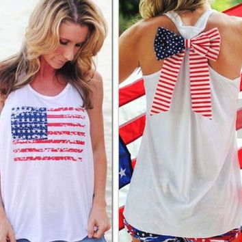 womens american flag sleeveless t shirts bow tank top unique vest gift 98  number 1