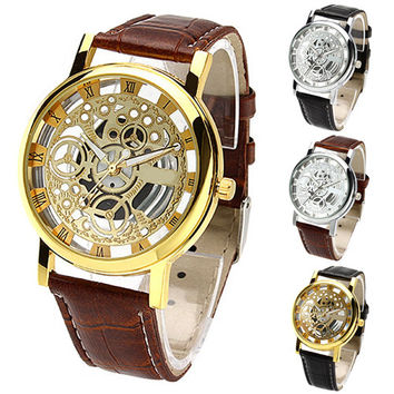 2017 Trended Men's Women's Roman Numerals Faux Leather Band Skeleton Analog Sports Dress Wrist Watch W2E8D
