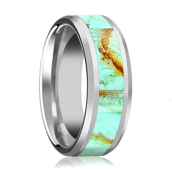 Tungsten Light Blue Turquoise Stone Inlay - Tungsten Wedding Band - Beveled - Polished Finish - 8mm - Tungsten Wedding Ring