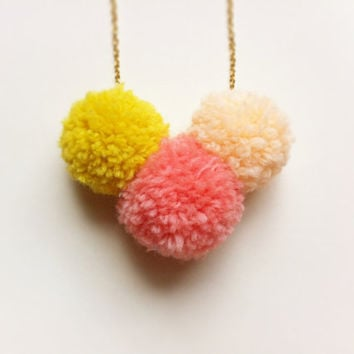 Neon Pom Pom Trio Necklace / Bright colorblock pompoms in mustard yellow, pink, peach / Spring Fashion