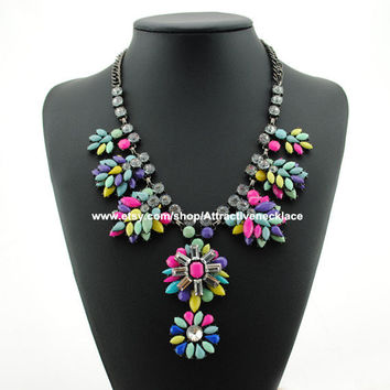 Shourouk Cluster Flower Necklace Pendant Jewelry Statement Bib Necklace Crystal Statement Necklace  Beaded Necklace Prom  Jewelry Wholesale