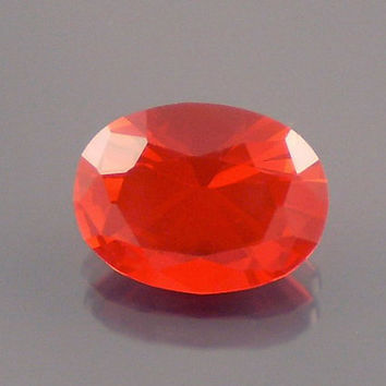 Fire Opal: 1.32ct Cherry Red Oval Shape Gemstone, Loose Natural Hand Made Mexican Faceted Precious Gem, OOAK Cut Crystal Jewelry Supply O45