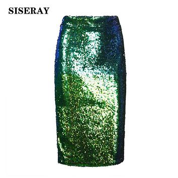 High Waist Sequined Women's Skirt Elegant Knee Length Pencil Skirt Green Silver Back Zipper Ladies Skirts Jupe Office Wrap Skirt