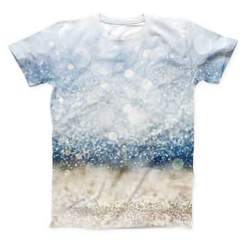 The Unfocused Blue and Gold Sparkles ink-Fuzed Unisex All Over Full-Printed Fitted Tee Shirt