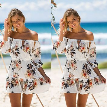 Summer Fashion Hollow Flower Print Off Shoulder Middle Sleeve Mini Dress