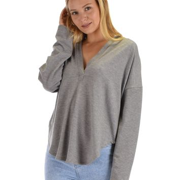 Lyss Loo Work It Out V-neck Hoodie Grey Long Sleeve Top