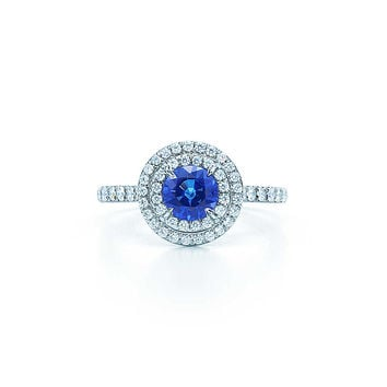 Tiffany & Co. - Tiffany Soleste® ring in platinum with a .45-carat sapphire and diamonds.