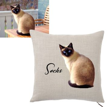 Custom Pet Photo Throw Pillow Cover by Tote Tails