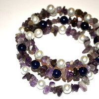Amethyst Beads Chips With Beads Memory Wire Bracelet, Gypsy Bangles, Wrap Bracelet