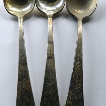 Set of 3 Vintage Community Silver Plate Serving Spoons - Pattern Paul Revere
