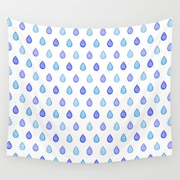 Blue raindrops Wall Tapestry by Savousepate