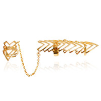 F&U Zinc Alloy Metal Gold and Silver Plated Arrow Shaped Ring for 2 Fingers Chain Links Ring for Fashion Girls R068