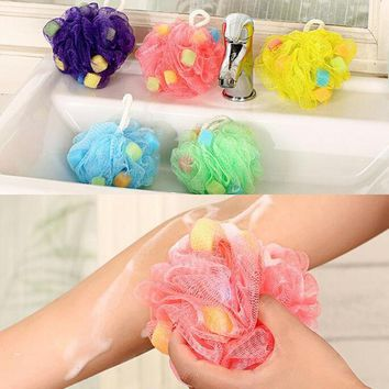 5pcs Bath Shower Soap Bubble Body Wash Exfoliate Puff Sponge Mesh Net Ball