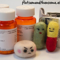 Custom Spoonie Pals Your Medication! Needle Felt Pin Ornament Gift Spoonie Pill Tablet Medication Fibromyalgia Depression Anxiety ADHD
