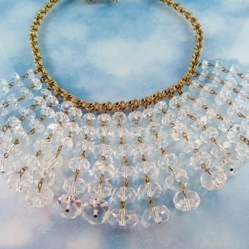 Stunning Vintage Multifaceted Rock Crystal Dangle Bib Front Statement Necklace