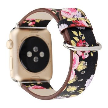 Blueseao iWatch Leather Band 42mm 38mm, Apple Watch Band Series 3 2 1 Soft Floral Printed PU Leather Wrap band Link Bracelet Womens Men Replacement Wristband For Apple Watch Smartwatch