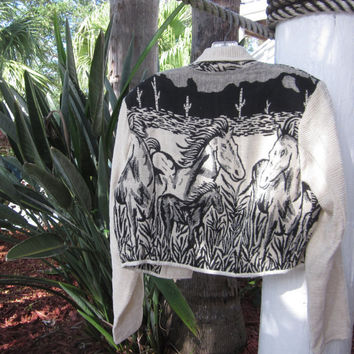 Vintage Horse Jacket Cropped Tapestry Jacket Black and White Chenille Womens Medium Jacket with Horses