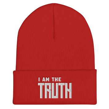 """"""" I AM THE TRUTH"""" Positive Motivational & Inspiring Quoted EMBROIDERY Cuffed Beanie"""