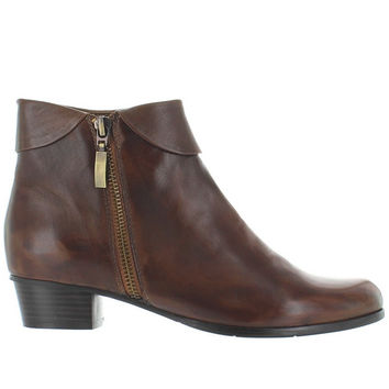 Spring Step Stockholm - Brown Leather Side Zip Cuff Bootie