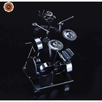Vintage Style Metal Model Toys Handmade Iron Drum Kit Player Creative Home Decoration Best Christmas Gifts