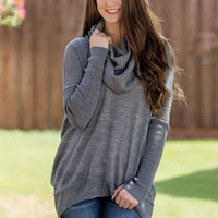 Not So Cold Shoulder Sweater-Grey