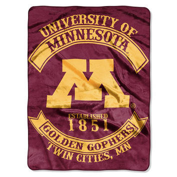 Minnesota Golden Gophers NCAA Royal Plush Raschel Blanket (Rebel Series) (60x80)