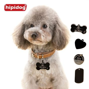 Hipidog Free Personalized Engraving Text Dog Tag Engraved Dog Cat Tag Dog Identification Customized Name Address Telephone