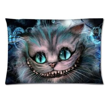 New Cheshire Cat Pillow Case Cover Pillowcase Alice in Wonderland Rectangle Printed Pillowcover Cheshire Cat Gift Two Side 20x30