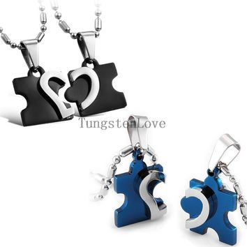 2pcs/pair Blue Black Stainless Steel Love Combining puzzle Necklace heart Pendant for Couples Jewelry Best Friend Necklaces+