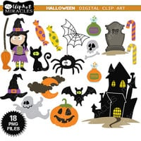 Halloween Clip Art Package, Trick or Treat Clipart, Spooky Clip art / Instant download, Personal and commercial use