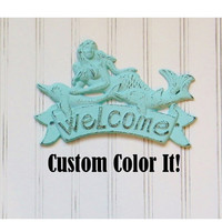 Cast Iron Home Decor, Mermaid Welcome Sign, Cast Iron Welcome Sign, Beach House Decor