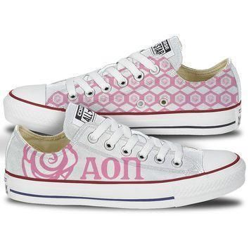 alpha omicron pi converse low top pink pattern