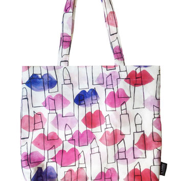 Lips and Lipstick Outlines Tote